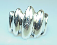Vintage Mexican Heavy 14.2g Sterling Silver Ring With Deep Ridge Design Size 7.5