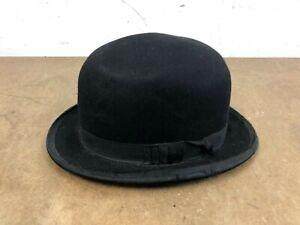 Vintage FELT BOWLER HAT Mens 7 1/8 - 1/4 victorian costume fedora dress derby
