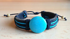 Handmade Leather Bangle Cuff Adjustable Bracelet w Blue Chunky Gemstone