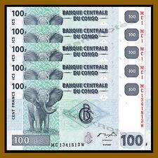 5 Pcs x Congo D.R 100 Francs, 2007 P-98 African Elephant Unc
