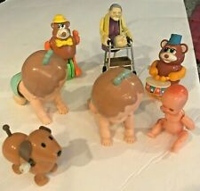Incredible Lot Of Vtg 1977 Tomy Hard Plastic Wind Up Crawling Baby & Other Toys