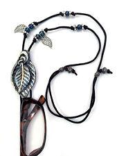 Handmade Eyeglasses or Sunglasses Holder Adjustable necklace Blue-Silver Leaf