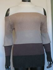 NWT CHICO'S  STRIPED SHINE COLD-SHOULDER ZIP BACK PULLOVER SWEATER SIZE 2