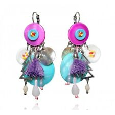 Lol Bijoux - earrings Buttons - Violet and Turquoise