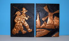 2 Vintage 1949 Copper on Wood Pictures (Windmill & Little Dutch Boy and Girl)