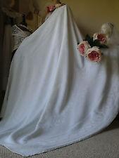 Antico Francese Puro Damasco floreale Tovaglia tessile/biancheria da letto di Overlay 141x166cm