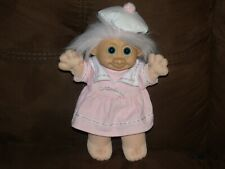 "Russ Berrie & Co. 12"" Troll Doll Girl Sailor Dress Hat  Pink Hair"