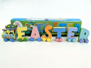 Vintage Wooden Happy Easter Train Decoration Decor Pastel Hand Painted Sue Dream