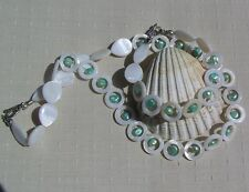Shell Necklace & Bracelet Set, Aqua Freshwater Pearl & White Mother of Pearl