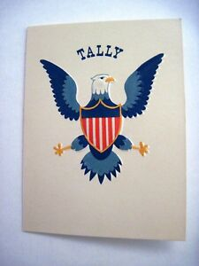 1961 Patriotic Cream  Bridge Tally w/ Blue Eagle , Blue & Red Striped Shield *