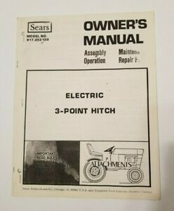 Sears Electric 3-point Hitch Model No 917.253130 Owners Manual COPY