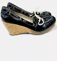 Dr scholl's seashore Boat wedge Heel shoes size 9M EUC Black And White