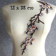 ÉCUSSON PATCH, Branche Fleurs de cerisier, 12 x 38 cm, applique thermocollante