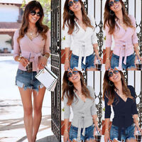 Fashion Women Pullover V Neck Knit Sweater Slim Fit Tops Tunic Knot Blouse Shirt