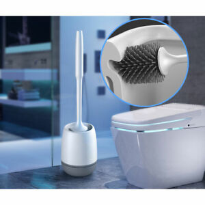 Soft Silicone Bristle Toilet Brush And Holder Set Bathroom WC Cleaning Brush //