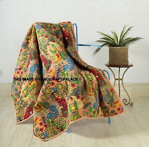 Frida Kahlo Pfirsich Kantha Tagesdecke Indisch Handmade Steppdecke Cotton Decke