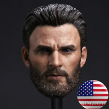 1/6 Chris Evans Captain America Head Sculpt Beard For TBLeague Hot Toys Figure
