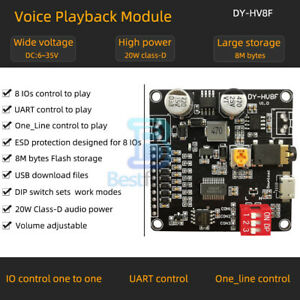 12V/24V Voice Playback Module One-to-One Trigger Serial Port WAV Control 10W/20W