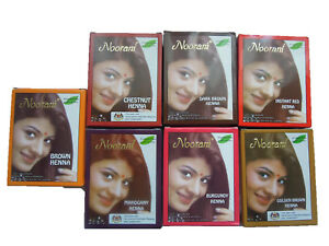 Noorani Henna 6pouches x 10g Black Golden Dark Brown Mahogany Red Hair Color