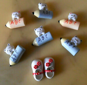 Lot of 6 Teddy Bear on ABC Pencil + 2 Shoe Plastic BUTTONS / Crafts Enhancements