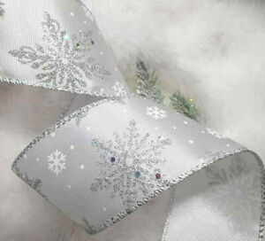1m x 63mm Silky Wired Christmas Ribbon White Silver Hologram Glitter & Snowflake