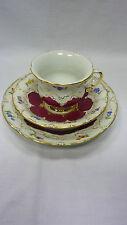 Prunk-Kaffeegedeck B-Form Streublümchen Purpur Rot Meissen 1. Wahl