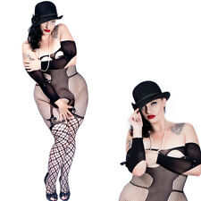 Plus Size Bodystocking Fishnet Satin Bow Crotchless open Black Queen 1x 2x 3x
