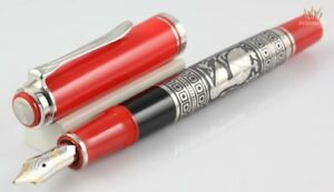 PELIKAN SPECIAL EDITION M710 TOLEDO RED WITH SILVER PLATED FINISH FOUNTAIN PEN !