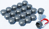 Set of 20 x Car wheel bolts caps nuts covers 17mm Hex Grey