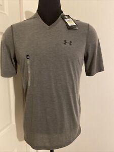 UNDER ARMOUR UA Gray Men's Velocity Loose V neck Short Sleeve Shirt MEDIUM NWT