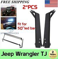 """50""""in LED Light Bar Upper Roof Mounting Brackets for 97-06 Jeep TJ LJ Wrangler"""