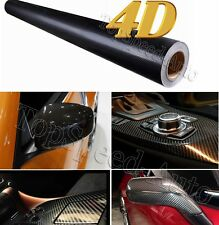 "4D Premium Gloss Black Carbon Fiber Vinyl Wrap Bubble Free Air Release 24"" x 60"""