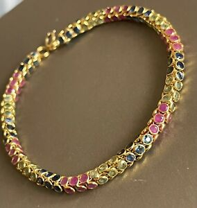 Vintage 18ct Yellow Gold Sapphire Ruby Bracelet 6ct sapphire 4ct Ruby Statement