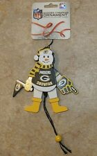 NFL GREEN BAY PACKERS Football Wooden Moving Cheering Snowman Ornament - New