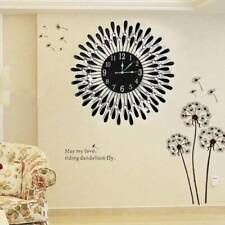 Large Modern 3D Crystal Wall Clock Luxury Black Glass Round Dial Home Office