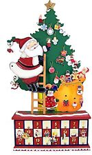 Wooden Santa Claus on a Christmas Tree Advent Calendar with Ornament Decorations