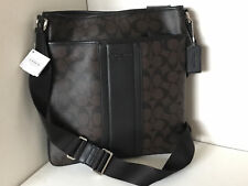 COACH HERITAGE STRIPE SMALL ZIP TOP CROSSBODY SLING MESSENGER BAG $268 MAHOGANY