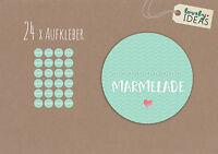 """24 x Geschenkaufkleber """"...Marmelade"""" 40mm türkis Etiketten Aufkleber Sticker"""