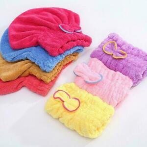 Bowknot Hair Turban Quickly Dry Hair Hat Towel Head Shower Cap Wrap H9U6