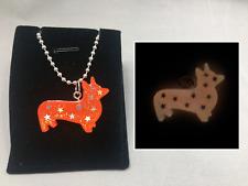 Starry Glitter CORGI GLOW in the DARK Orange CUTE Charm Pendant Necklace Pet
