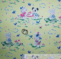 BonEful FABRIC FQ Cotton Quilt VTG Green Grass White Blue Baby Cat Bunny Turtle