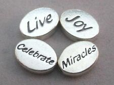FLAT OVAL BEADS LIVE JOY CELEBRATE MIRACLES 2-SIDED SET OF 4 UNMARKED **