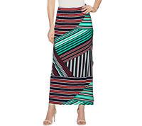 A287701 Susan Graver Printed Liquid Knit Maxi Skirt w/ Slit - Regular~602