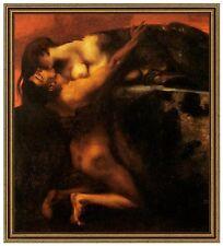 Franz di stucco 12 della bacio alla Sfinge tela 42x48 GATTO femme fatal Villa