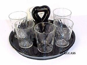 7 pieces  Honeycomb Optic Shot Glass Shooters On Black Glass CHS Tray 1930s