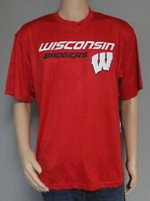 WISCONSIN BADGERS MEN'S SIZE L  RED SHORT SLEEVED TEE COLOSSEUM POLYESTER NEW