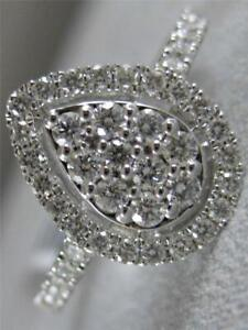 MODERN PAVE DIAMOND 18KT WHITE GOLD PEAR HALO COCKTAIL ENGAGEMENT RING #R003187