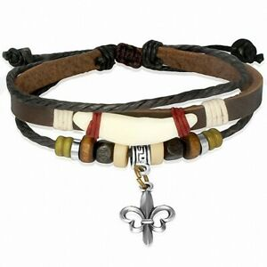 Bracelet Brown Leather With Charm Pearl Wood Horn Flower Lily Flower Wra