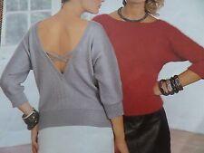 "Knitting Pattern Womens Ladies Round Neck Open Back Jumper 32-40""  Vintage"