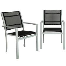 Set di 2 sedie da giardino poltrona campeggio metallo arredo giardino grigio